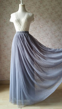 GRAY Elastic High Waisted Full Midi Tulle Skirt Plus Size Bridesmaid Midi Skirt image 3