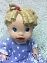 """2009 Hasbro 14"""" Baby Alive Doll in Purple Dotted Dress - $14.20"""