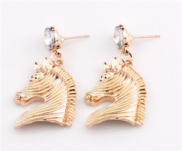 Gold tone Dangle Horsehead Stud Earrings Free Shipping - $12.00