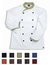 NWT Dickies CW070303 Contrast Trim Executive Chef Coat 34-62 WHITE Twill... - $18.99