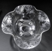 Paden City Glass Spire Crimped Bowl Floral Silver Overlay - $18.37