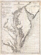 1893  US Coast Survey Nautical Chart or Map Chesapeake and Delaware Bay - $15.84
