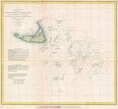 1853 United States Coast Survey Map Nautical Chart Massachusetts depth N... - $14.85