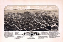 An item in the Everything Else category: 1882 GREELEY panoramic COLORADO PAnaramic map GENEALOGY atlas  poster CO 18