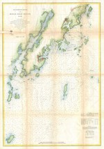 1864 Coastal map Nautical Chart St. Georges River and Muscle Ridge Channel Maine - $15.84