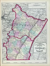 1872 PENNSYLVANIA map poster Westmoreland Fayette County history genealo... - $14.85