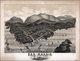 1886 BAR HABOR map GENEALOGY atlas  poster MAINE Mount DESERT ISLAND mt ... - $15.84