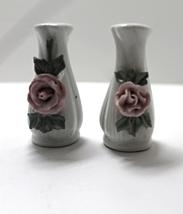Vintage Porcelain Applied Rose Salt & Pepper Shakers - $5.00