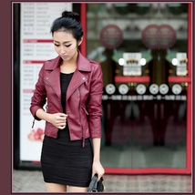 Retro Big Lapel Red or Black Faux Leather Motorcycle Oblique Zipper Jacket image 3