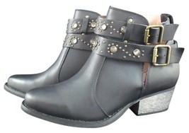 NIB BETSEY JOHNSON Willow Black Leather Rhinestone Boots Sz 7.5 (MAKE AN... - £100.98 GBP