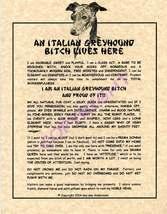 An Italian Greyhound Bit^h Lives Here - $19.50