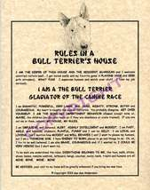 Rules In A Bull Terrier's House - $20.70