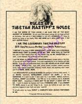 Rules In A Tibetan Mastiff's House - $20.70