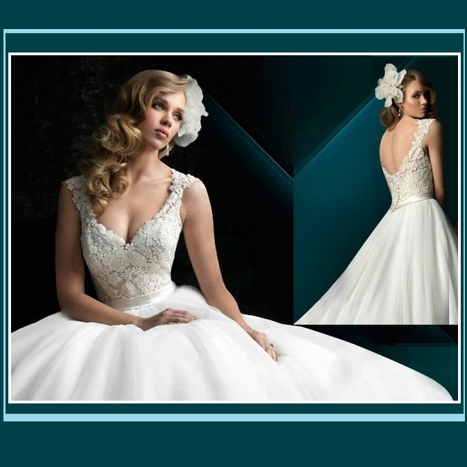 Organza Crochet Lace Duchess Wedding Gown with Lace Up Back Classic V Neckline