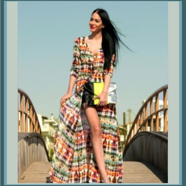 Long Chiffon Maxi Multi Color Front Button Up Casual End of Summer Beach Dress