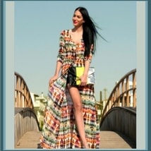 Long Chiffon Maxi Multi Color Front Button Up Casual End of Summer Beach... - $39.95