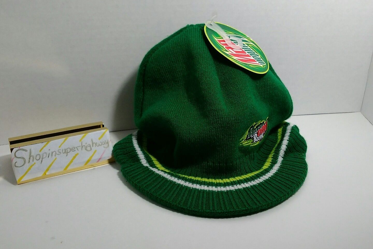 Green Mountain Dew Racing Hat Acrylic NWT with rim Fits Small to Medium head