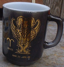 Retro Zodiac Mugs Federal Glass Aquarius' Pisces Birthdays - $28.00