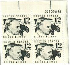 1968 Henry Ford Plate Block of 4 US Postage Stamps Catalog Number 1286A MNH