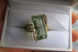 Huge VS-VVS 17 ct Rare Blue green Aquamarine & Diamond 14k yellow gold r... - $4,652.99
