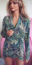 NWT M L  12 14 Green Print Cowel Ruched Stretch Pullover Blouse Tunic To... - $19.79