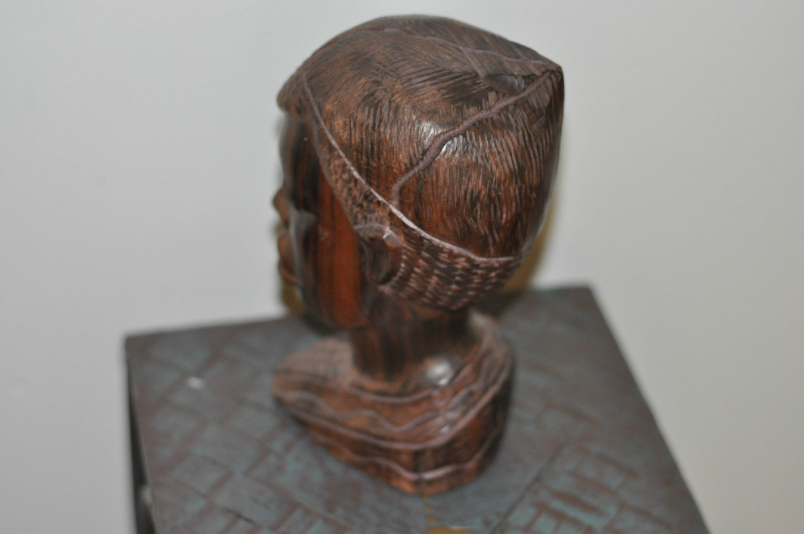 Hand antique carved wooden african face statue beautiful