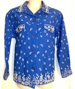 Quacker Factory Paisley Bandanna PrInt Jacket Sz 1X Western ROYAL Blue W... - $26.85