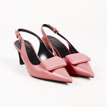 Leather Pumps 38 Mid Pointed SZ Toe Marni Heel Slingback Pink qwACB05