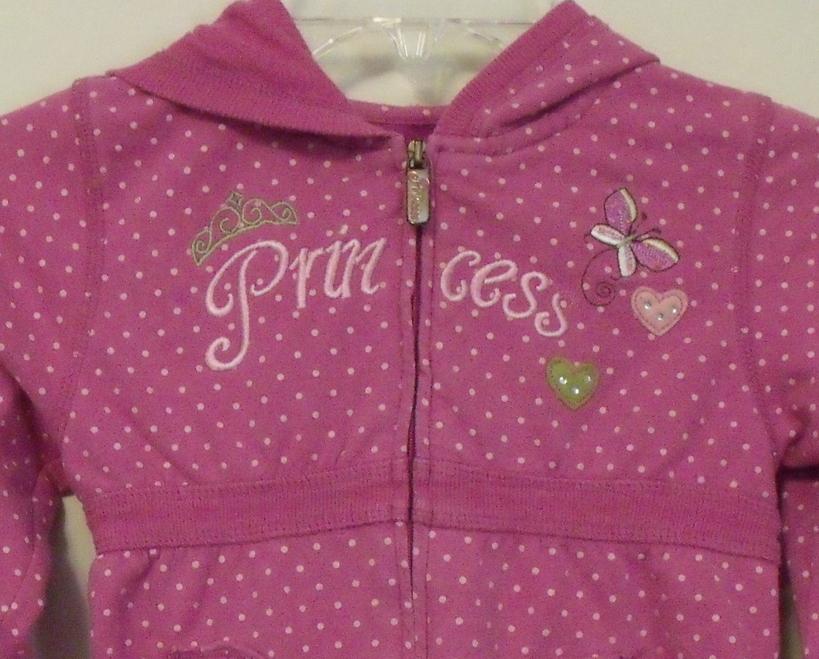 Girls Disney Princess Pink with Pink Dots Long Sleeve Hooded Sweatshirt Size 6