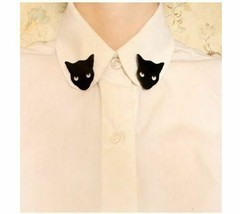 Fashion Personality Punk black cat  Collar Brooch  pin for women jewelry - $0.98
