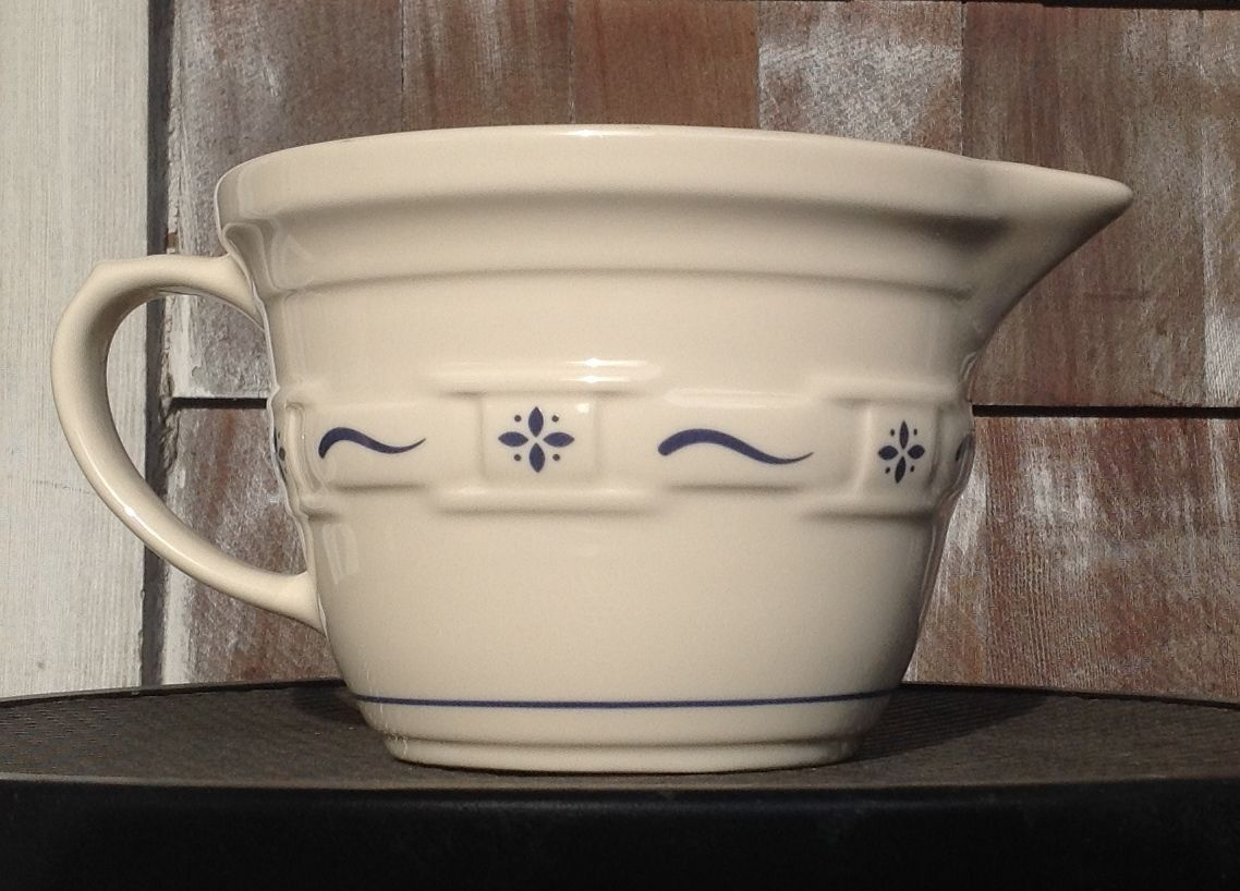 Longaberger Pottery Batter Mixing Bowl Pitcher Traditional Blue Rare Retired