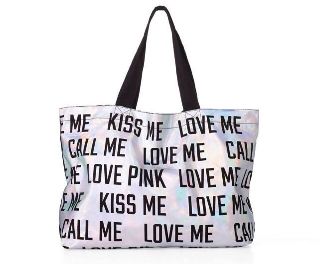 NEW Victoria's Secret PINK Love Kiss Call Me Silver Bling Tote Bag 2013