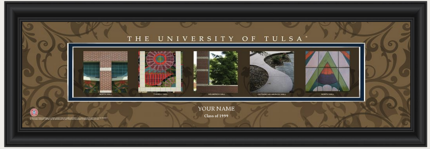 Personalized university of tulsa campus letter art print