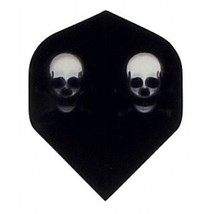 P564 Black Double Skulls 5 Sets of 3 Poly Standard Wide Shaped Dart Flights - $7.50