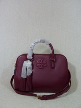 NWT Tory Burch Shiraz Pebbled Leather Thea Small Rounded Double Zip Satchel - $403.90