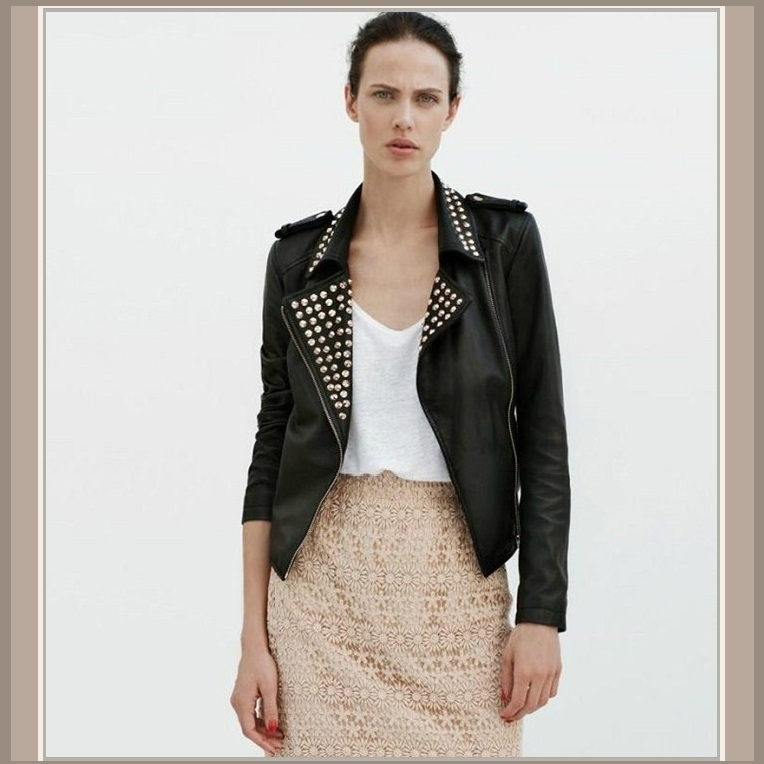 Gold Rivet Collar Black Faux Leather Retro Moto Jacket with Zipper Sleeves