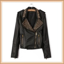 Gold Rivet Collar Black Faux Leather Retro Moto Jacket with Zipper Sleeves image 2
