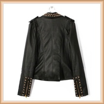 Gold Rivet Collar Black Faux Leather Retro Moto Jacket with Zipper Sleeves image 3