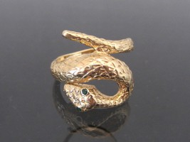 Vintage 14K Solid Yellow Gold Natural Emerald Snake Eyes Ring Size 8 - $545.00