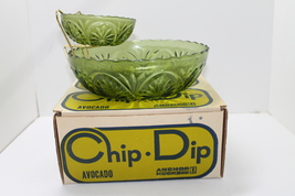 Vintage Anchor Hocking Three Piece Chip Dip in Avacado Glass Star & Cameo - $21.00