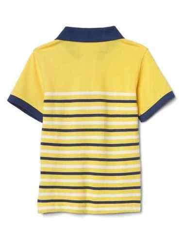 Gap Kids Boy Polo Shirt 5 Cotton Striped Yellow White Navy Blue Short Sleeve New
