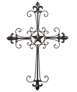Wrought iron Cross Lone Star wall style with fl... - $9.97