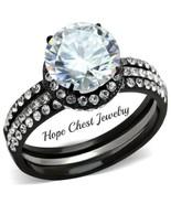 WOMEN'S BLACK STAINLESS STEEL 2.25 CT ROUND CUT CZ WEDDING RING SET SIZE... - $24.74
