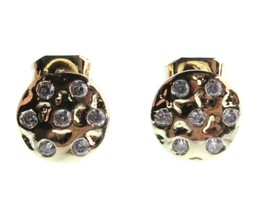 Kevia 18K Gold Plated Cubic Zirconia Crystal Round Button Post Stud Earrings NWT