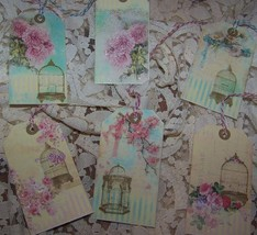 Gift Tags Handmade With Darling Bird Cages & Flowers 6 Tags Ephermera - $4.25