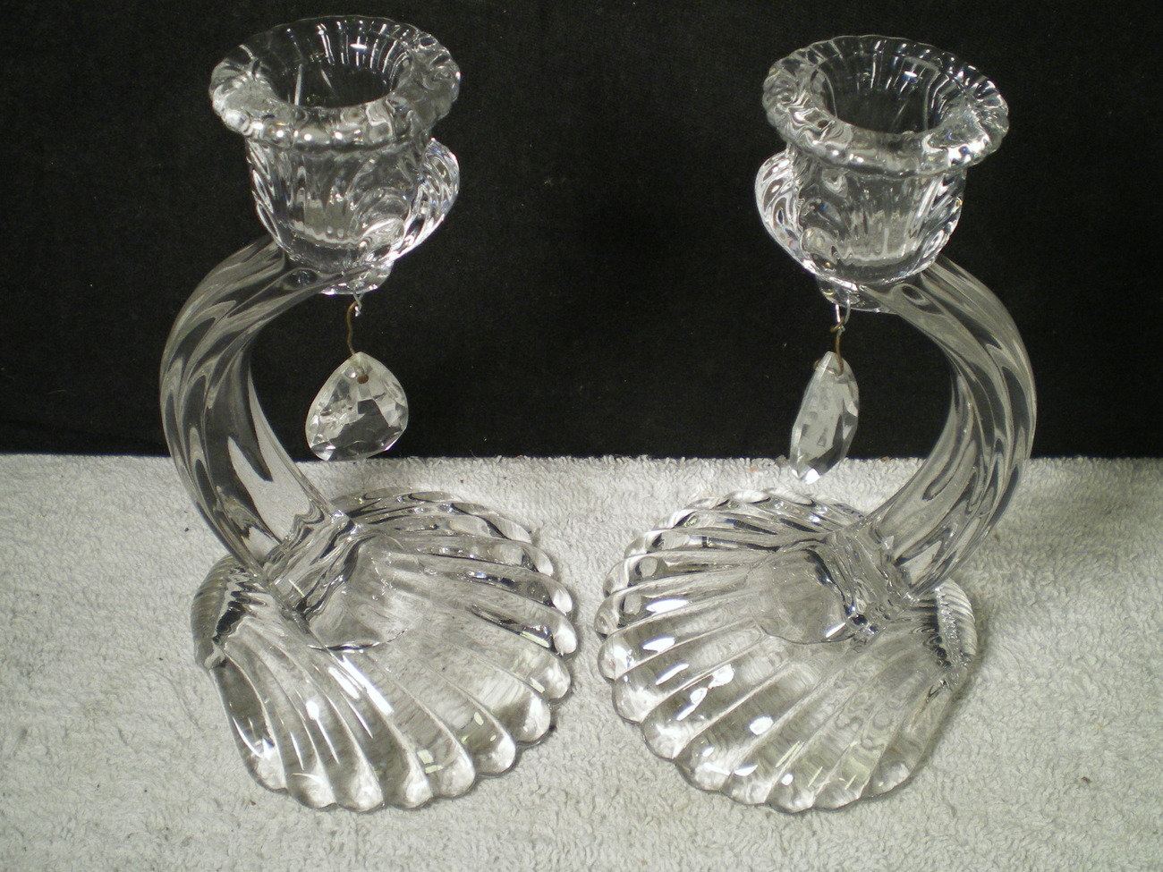 Pair Cambridge Caprice Crystal Candle Sticks w/ Prisms with Shell Base