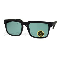 Glass Lens Sunglasses Matted Square Rectangular Frame Black - $9.85