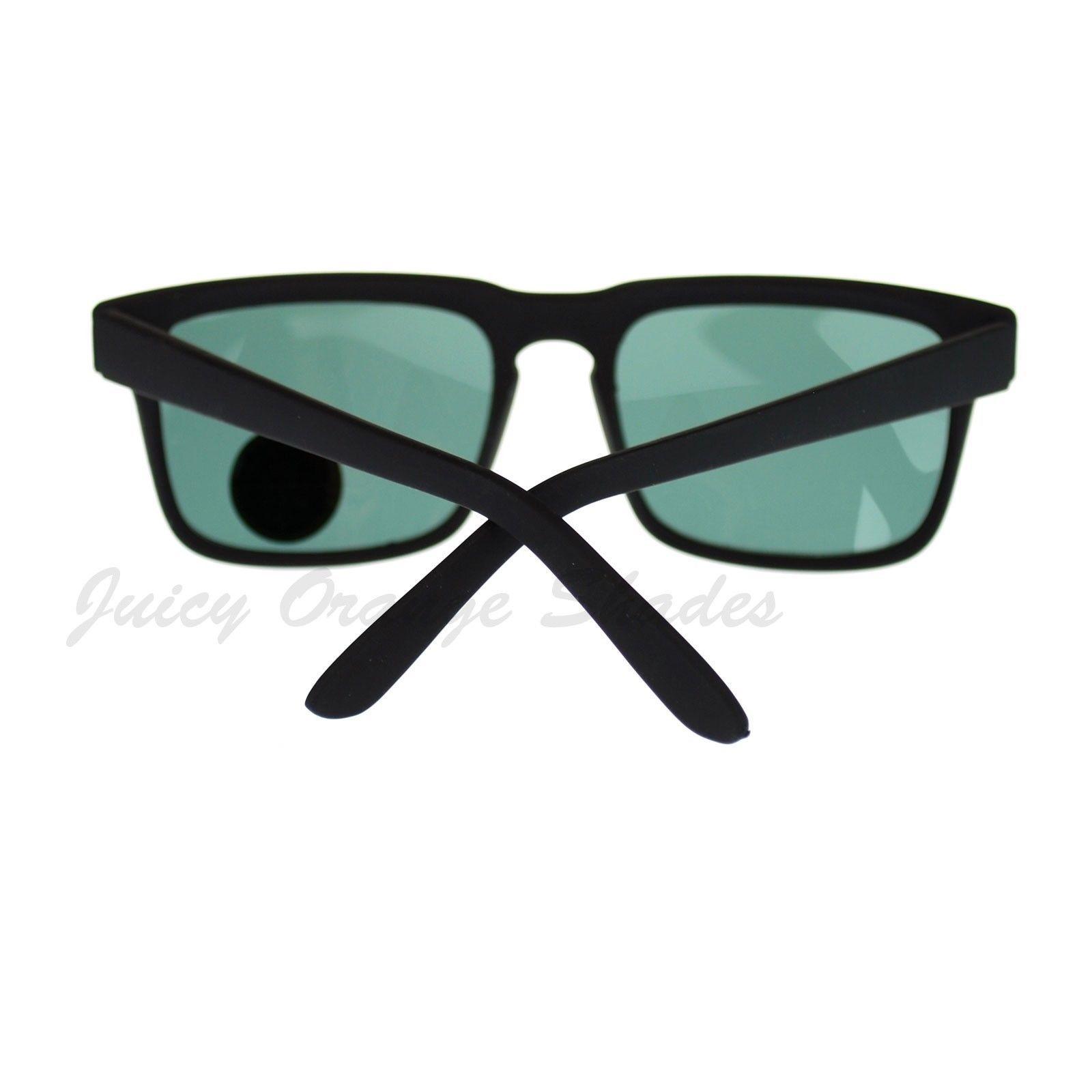 Glass Lens Sunglasses Matted Square Rectangular Frame Black