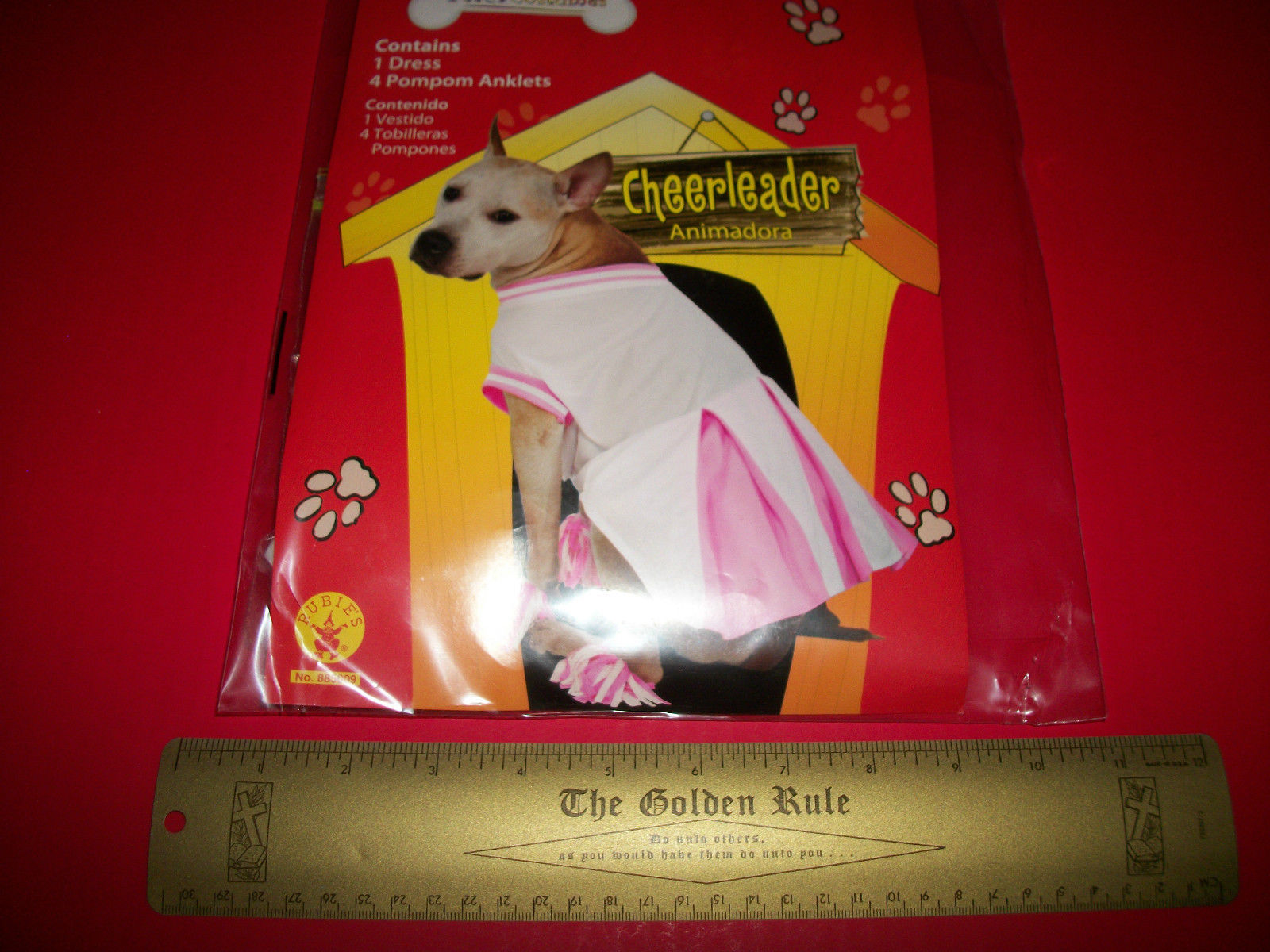 Rubies Pet Costume Small Cheerleader Outfit Dog Pink White Cheer Dress Pompom