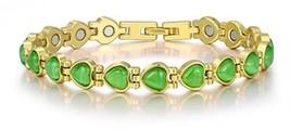 Women Magnetic Therapy Bracelets Heart Cat's Eye Bracelet 18K Gold Plate... - $42.94